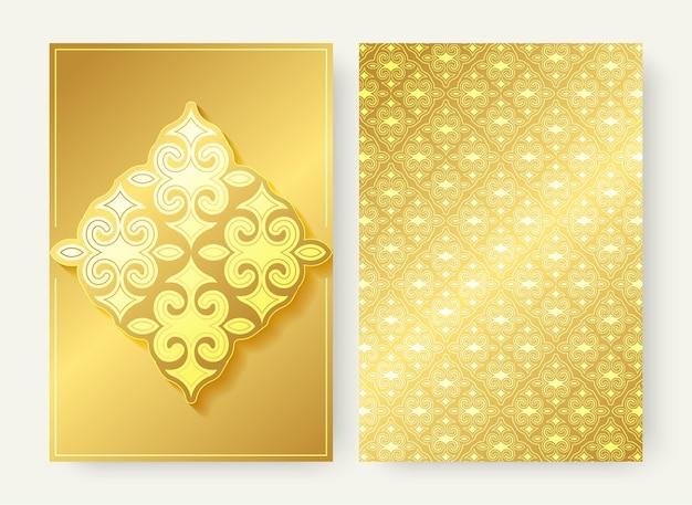 Luxus-grußkarte mit goldverzierungsmuster