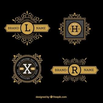 Luxus hand gezeichnet logos mit buchstaben
