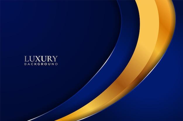 Luxus-hintergrund dynamische überlappende blaue schicht mit goldenem glanzeffekt