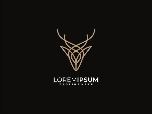 Luxus-hirsch-logo-design-vektor-vorlage mit monoline-stil
