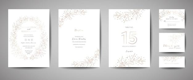 Luxus-hochzeits-einladungs-set mit floralen elementen. speichern sie die datumskartensammlung mit blattgoldenen blumen. rsvp design mit blättern ornament. vektor-illustration
