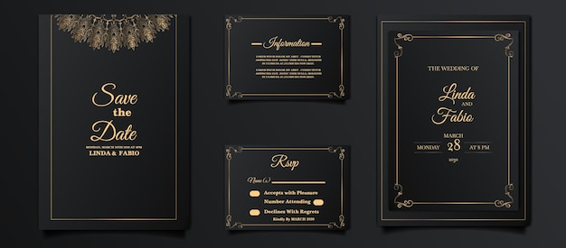 Luxus-hochzeitseinladungskarten-entwurfsset