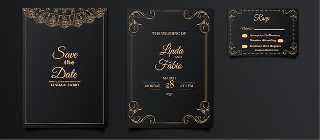 Luxus-hochzeitseinladungskartenset