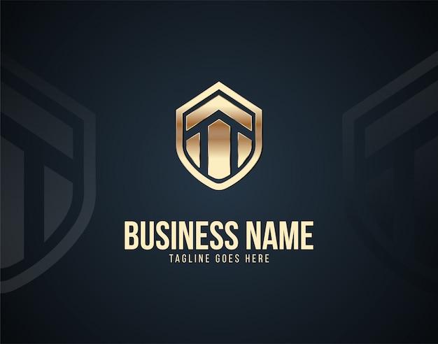 Luxus-home-security-logo-vorlage design-vektor mit goldenen farbeffekten