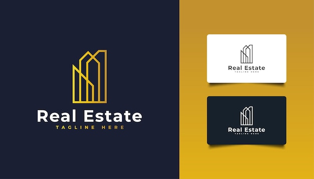 Luxus-immobilien-logo-design mit linienstil. goldenes gebäude-logo.