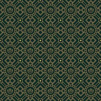 Luxus islamische geometrische nahtlose musterhintergrundtapete im grünen batikstil