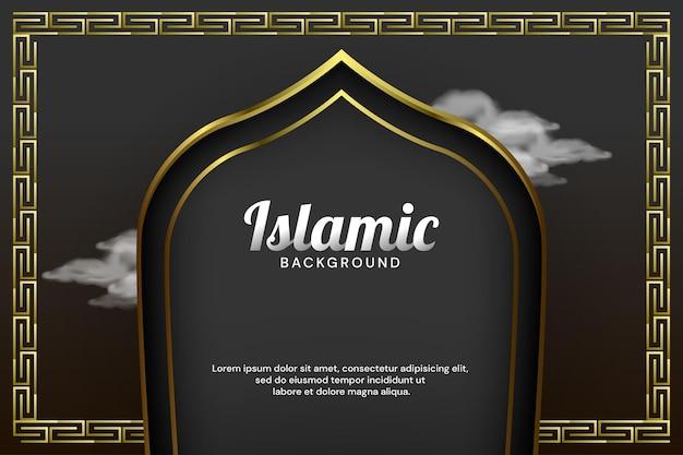 Luxus-islamischer bannerhintergrund mit moscheentür und arabischer grenzvektorillustration