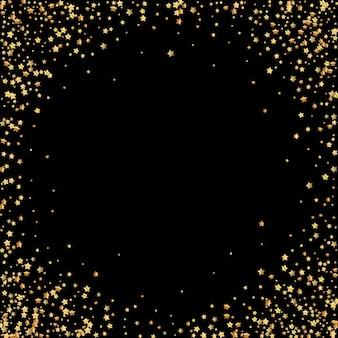 Luxus-konfetti mit goldenen sternen. verstreute kleine goldpartikel auf schwarzem hintergrund. künstlerische festliche überlagerungsschablone. göttliche illustration.