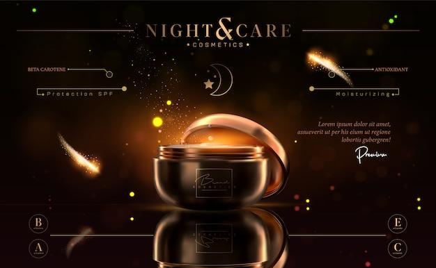 Luxus kosmetik schwarz und gold nachtcreme glas für hautpflegeprodukte.