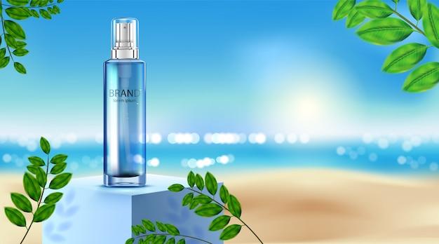 Luxus kosmetikflasche paket hautpflegecreme, beauty kosmetikprodukt poster, rose und strand hintergrund