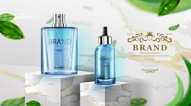 Luxus-kosmetikflaschenpaket hautpflegecreme, schönheitskosmetikplakat, blaues produkt und marmor