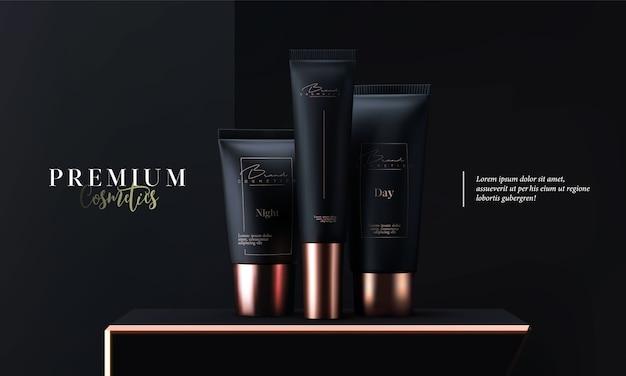 Luxus-kosmetiktuben verpacken hautpflegecreme. gesichtsmaske, schönheitskosmetikproduktplakat, banner oder webseitenkopf. schwarz-gold-kosmetik-paketvorlage. tube goldenes design werbung.