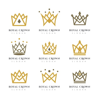 Luxus krone logo vektor vorlage. lineare kronenlogodesign.