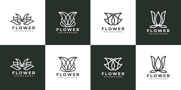 Luxus linie kunst blume rose logo-sammlung