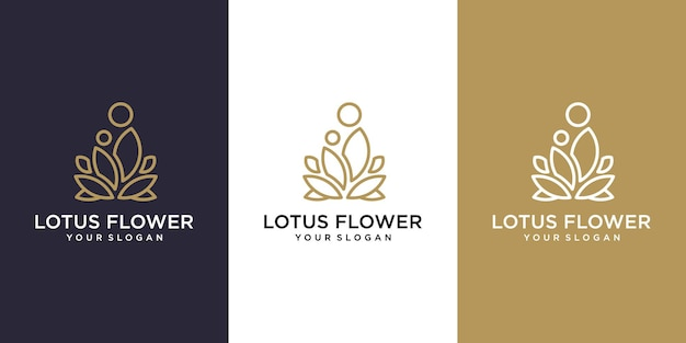 Luxus-linien-kunst-lotusblumen-logo-design logo