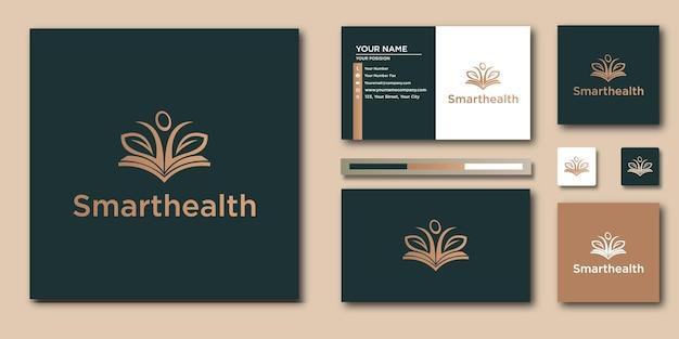 Luxus-linienkunst intelligentes gesundes logo und visitenkarte
