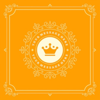 Luxus-logo blüht kalligraphische elegante ornamentlinien