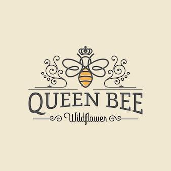 Luxus-logo der bienenkönigin
