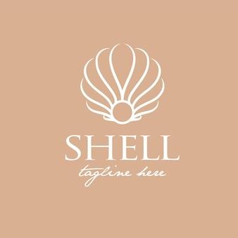 Luxus-logo-design für shell, geeignet für beauty-, salon-, schmuck- und modelogo fashion