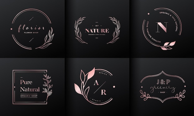 Luxus logo design kollektion. roségold-embleme mit initialen und blumendekor für branding-logo, corporate identity und hochzeitsmonogramm-design.