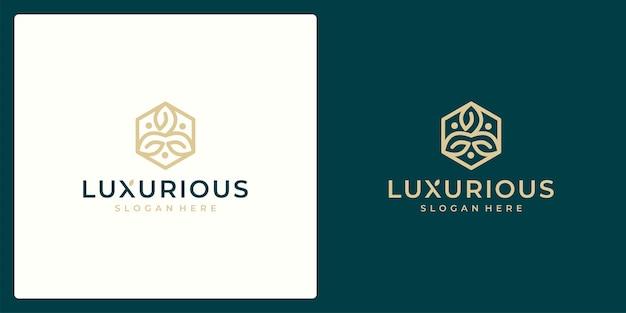 Luxus-logo-design-konzept, blumen-lotus-logo, beauty- oder spa-logo-vorlage
