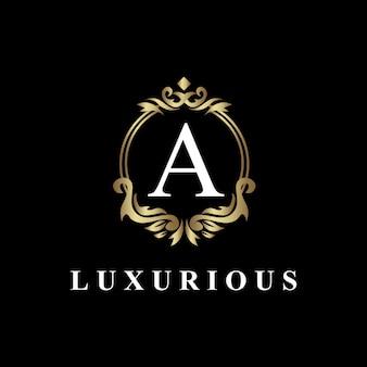 Luxus-logo-design mit monogramm buchstabe a, goldene farbe, luxus gedeihen