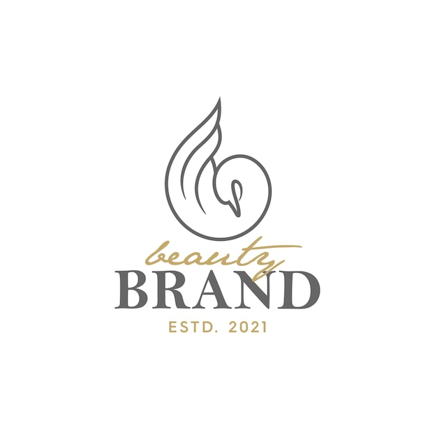 Luxus-logo-design mit schwan-illustration. geeignet für den einsatz in logo-schönheit und salon