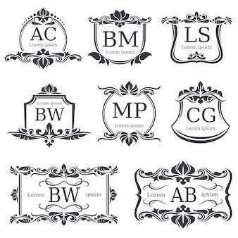 Luxus-logo-monogramme mit dekorativen verzierungselementen und buchstaben. vektor festgelegt