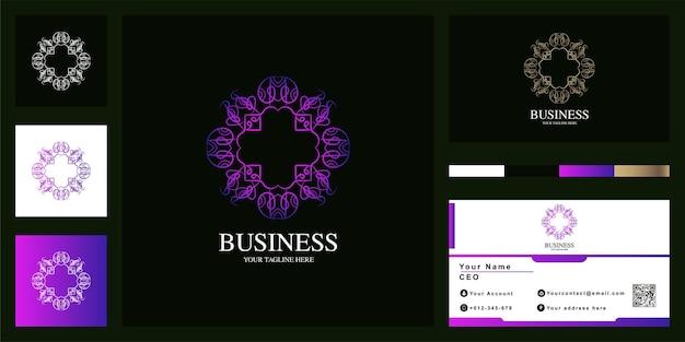 Luxus-logo-schablonendesign des mandalas oder der verzierung mit visitenkarte.