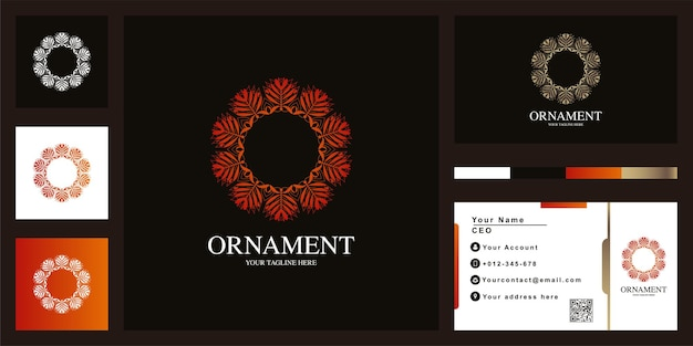 Luxus-logo-schablonendesign des mandalas oder der verzierung mit visitenkarte