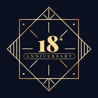 Luxus-logo-vorlage zum 18. jahrestag Premium Vektoren