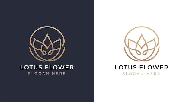 Luxus lotus logo design Premium Vektoren