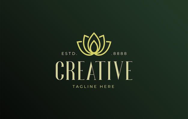 Luxus-lotusblume flache linie logo-design-vorlage