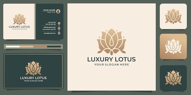 Luxus-lotusrose-logo-design. elegantes blumenlotoskonzept goldfarbe mit visitenkartenschablone.