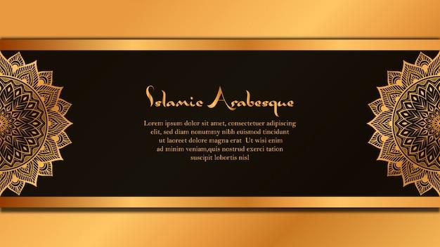 Luxus mandala banner hintergrund mit goldenen arabeske dekoration