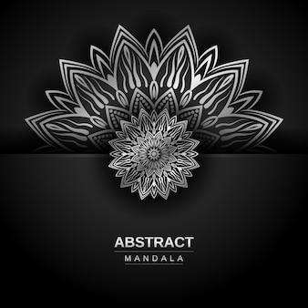 Luxus-mandala-design-vorlage mit silberner farbe