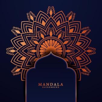 Luxus-mandala-hintergrund für buchumschlaghochzeitseinladung