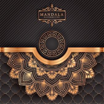Luxus-mandala-hintergrund mit goldenem arabeskenmuster im arabischen islamischen stil