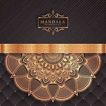Luxus-mandala-hintergrund mit goldenem arabeskenmuster-oststil