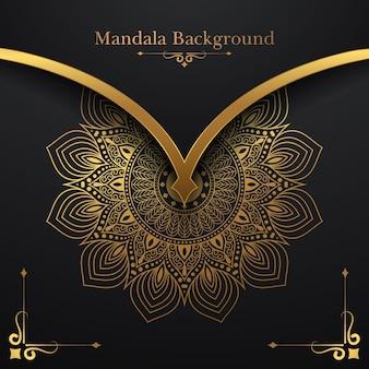 Luxus-mandala-hintergrund mit goldenem blumenmuster
