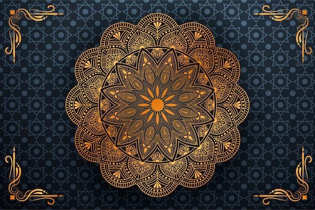 Luxus-mandala-kunst mit arabischem islamischem hintergrundstil