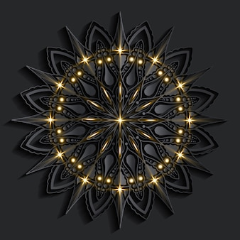 Luxus-mandala-kunst mit orientalischem stil des dunklen damastarabeskenhintergrunds