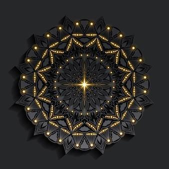 Luxus-mandala mit dunklem damastgoldeneffekt