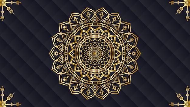 Luxus-mandala mit goldenem arabesken muster