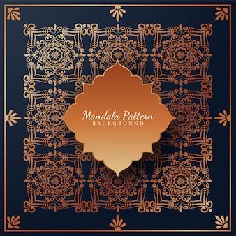 Luxus-mandala-musterhintergrund mit dem arabischen islamischen oststil der goldenen arabeskenverzierungen
