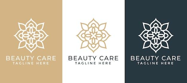 Luxus-mandala und goldenes dekoratives logo-designschablone für die geschäftsbranche spa und massage