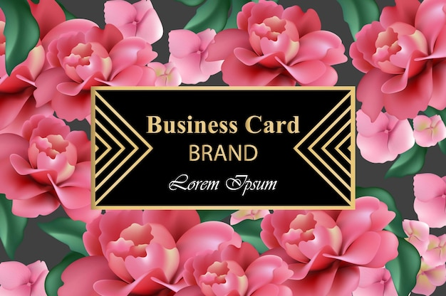 Luxus-marken-karte mit realistischen blumen. realistische rosenblüten. moderne designhintergründe der abstrakten zusammensetzung