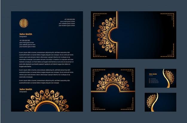 Luxus-markenidentität oder stationäre design-vorlage mit luxus-zier-mandala