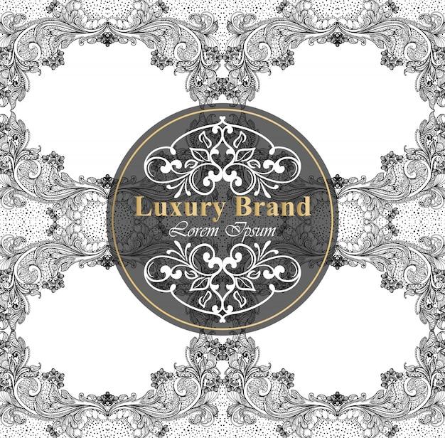 Luxus-markenkarte mit barockem ornamentdekor. handgemachte vorlagen