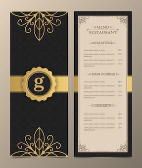 Luxus-menü-layout mit zierelementen.